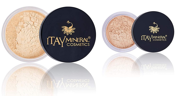 Bundle 3 Items: Itay Mineral eye Shimmer Elegance #1+ Itay Mineral Loss Powder Foundation + Red Cosmetics Bag (MF-2 FRENCH VANILLA LIGHT FAIR PINK UNDERTONE)
