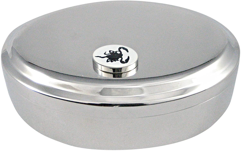 Black Scorpion Pendant Oval Trinket Jewelry Box