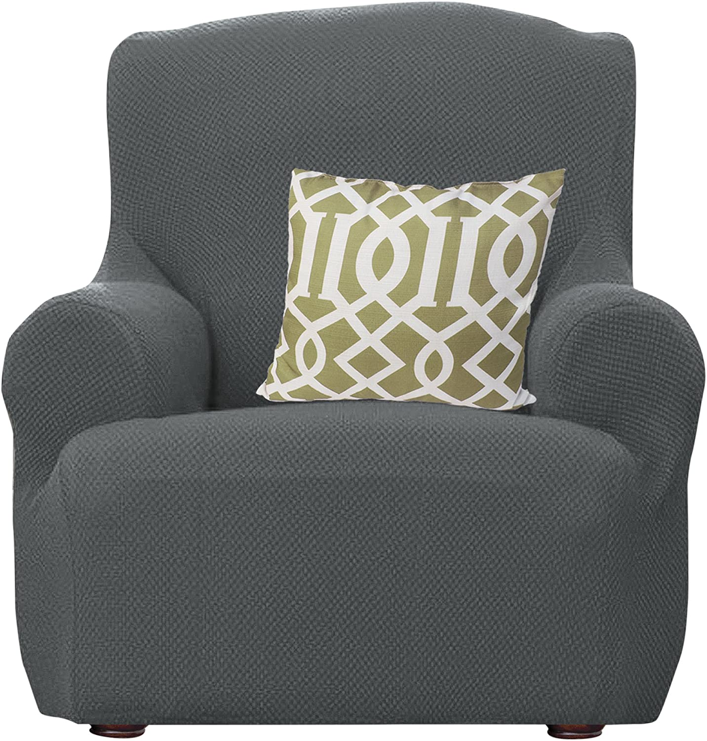 Kashi Home Dublin Popcorn Stretch Chair Slipcover Cover Protector, Gray