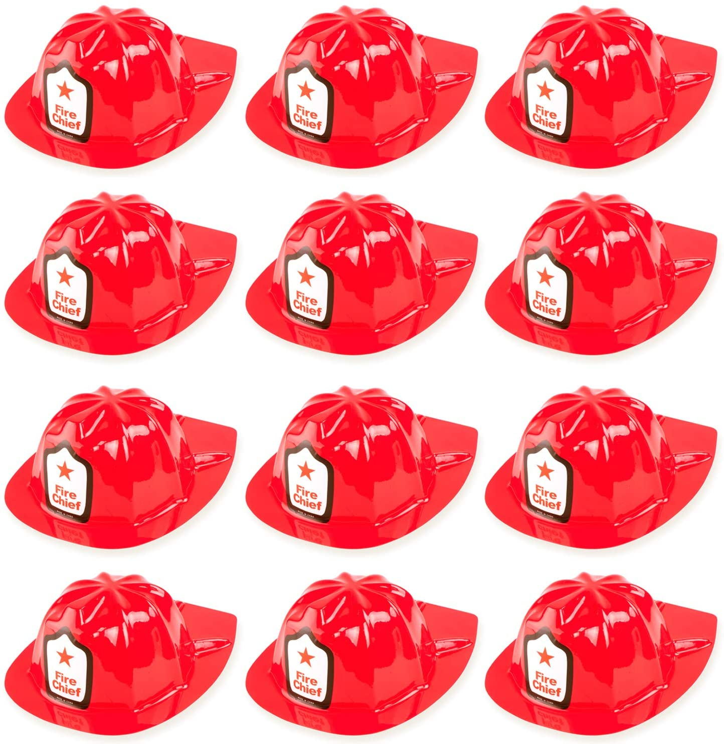 12 Pack Firefighter Children's Helmet Party Supplies for Kid's Costume Accessory