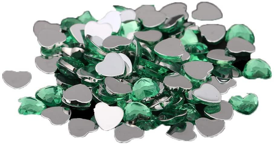 Nizi 25mm 50pcs Sun Green Heart Shape Acrylic Rhinestones Flatback Flat Faceted Strass Gems 3D Nail Art Decorations