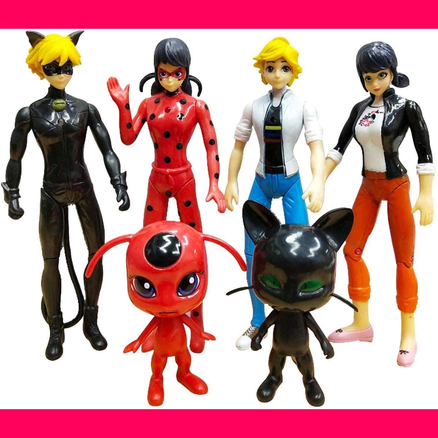 PANASIGN Ladybug Action Figures toy 10 Pcs Tales of Ladybug & Cat Noir 2.76