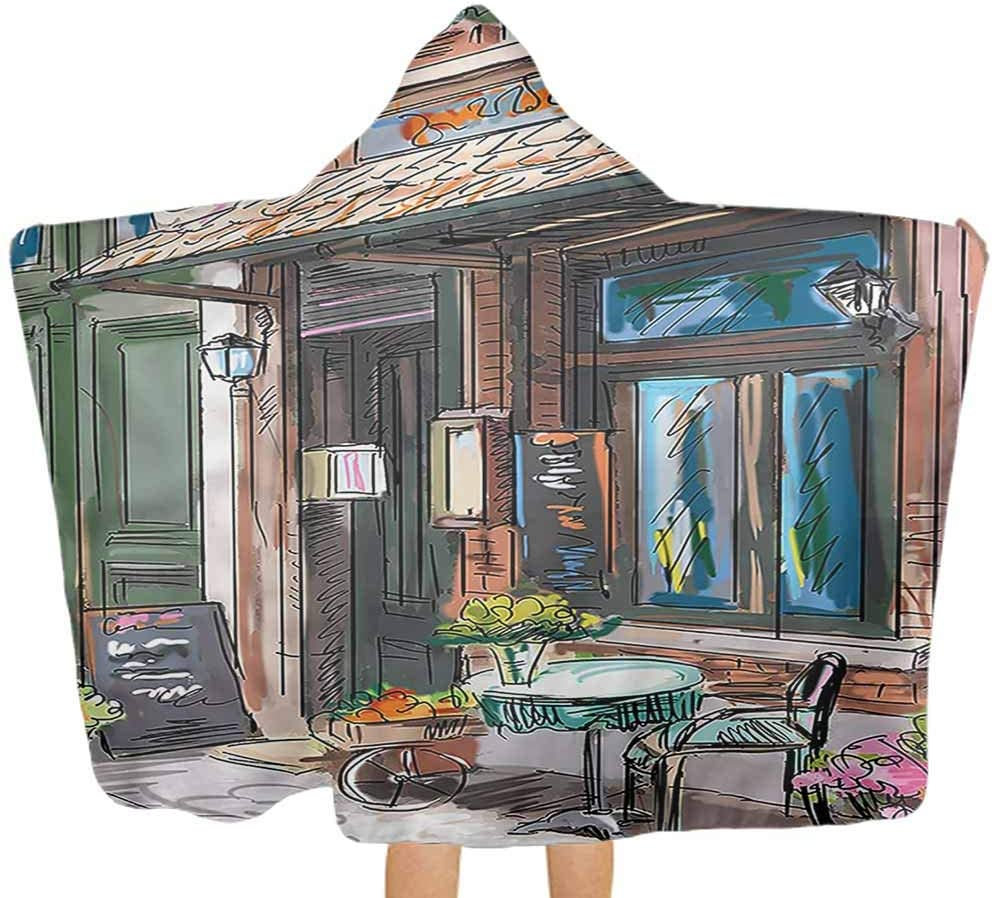 City Hooded Blanket Street Paris Cafe Eating Boy Girl Ultra Breathable and Soft for All Seasons 32 x 50 Inch Perfect Shower Gifts for Child