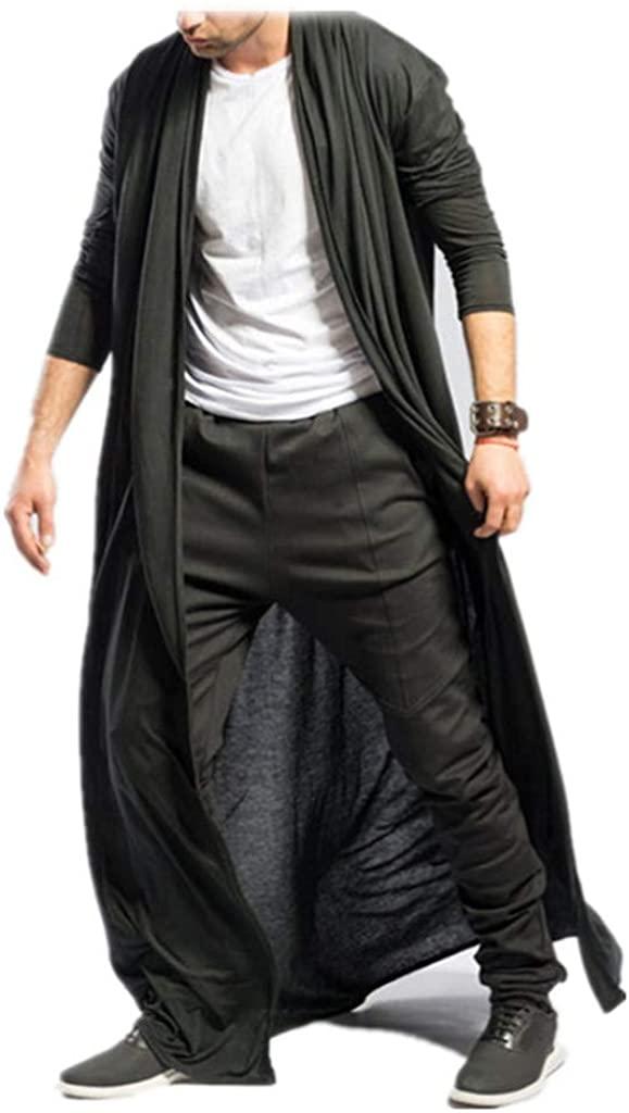 Men's Ruffle Shawl Collar Cardigan Lightweight Open Front Vest Long Length Drape Cape Trench Coat