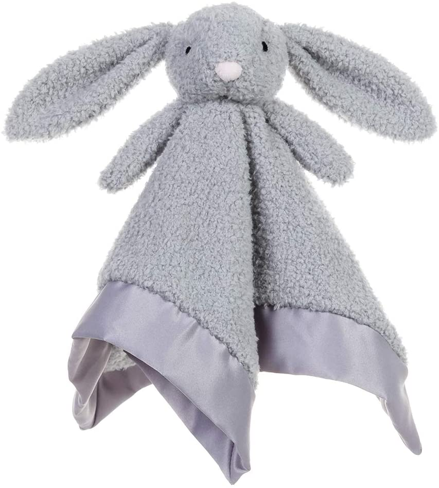 Apricot Lamb Stuffed Animals Gray Bunny Rabbit Security Blanket Infant Snuggler Plush Baby Lovey(Gray Bunny, 13 Inches)