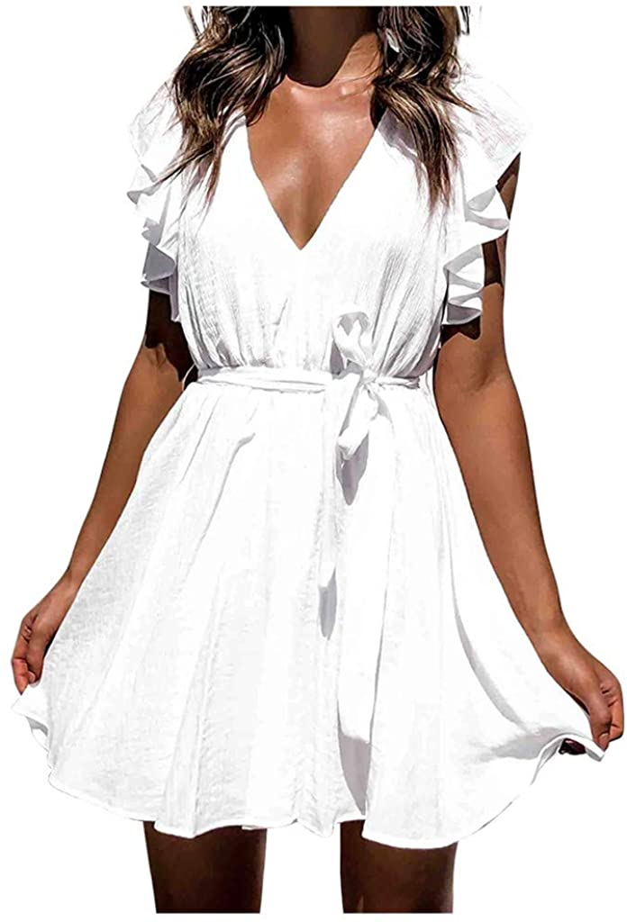Siviki Womens Sexy Deep V-Neck Princess Dress Fashion Temperament Solid Color Short Sleeve Mini Dresses Sundress