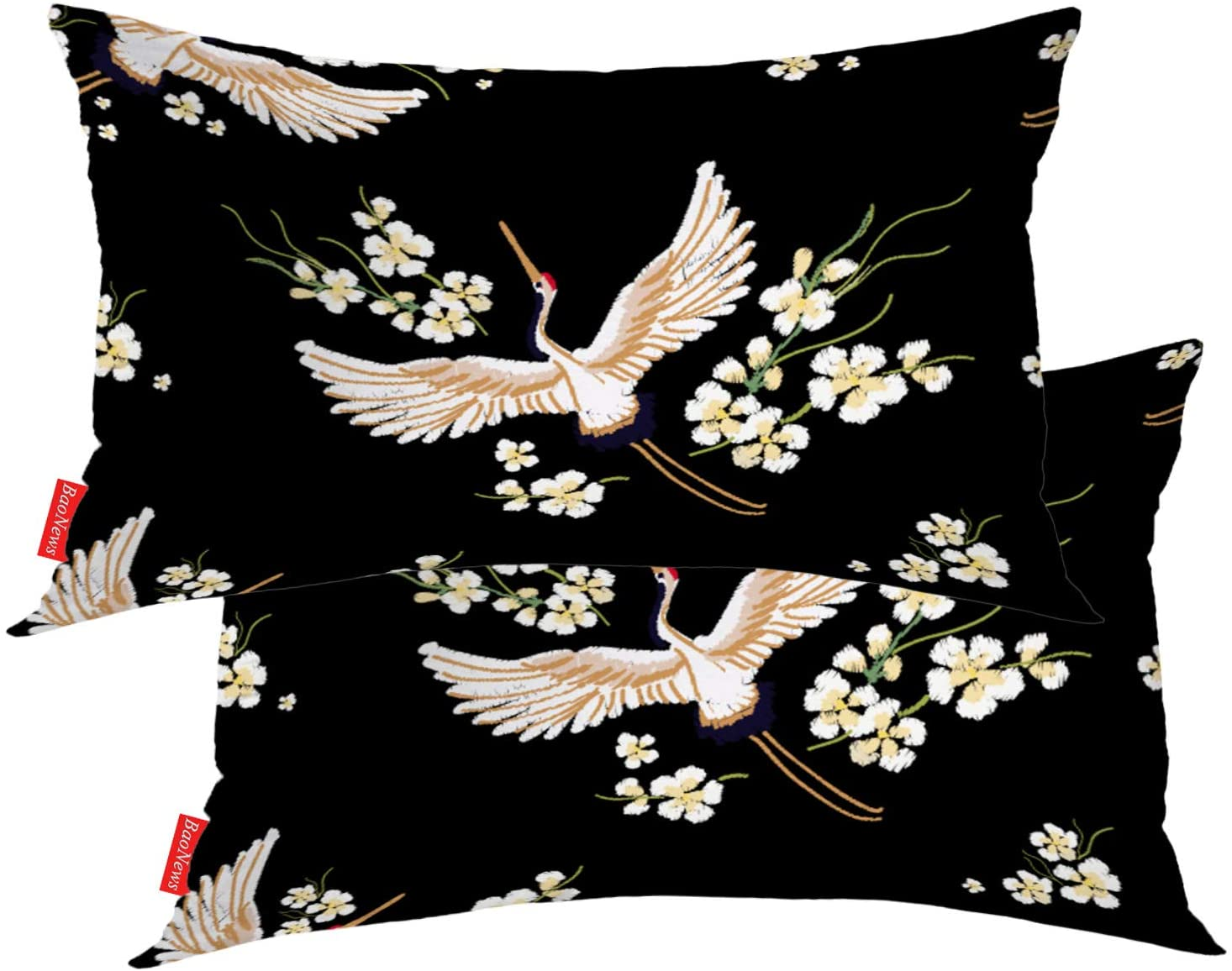 BaoNews Colorful Pillow Covers, Oriental Tropical Leafs Flowers On Black Lumbar 12 x 20 Inches Decorative Throw Pillow Covers Cotton Cushion for Sofa Bedroom Car, White 04, Set of 2