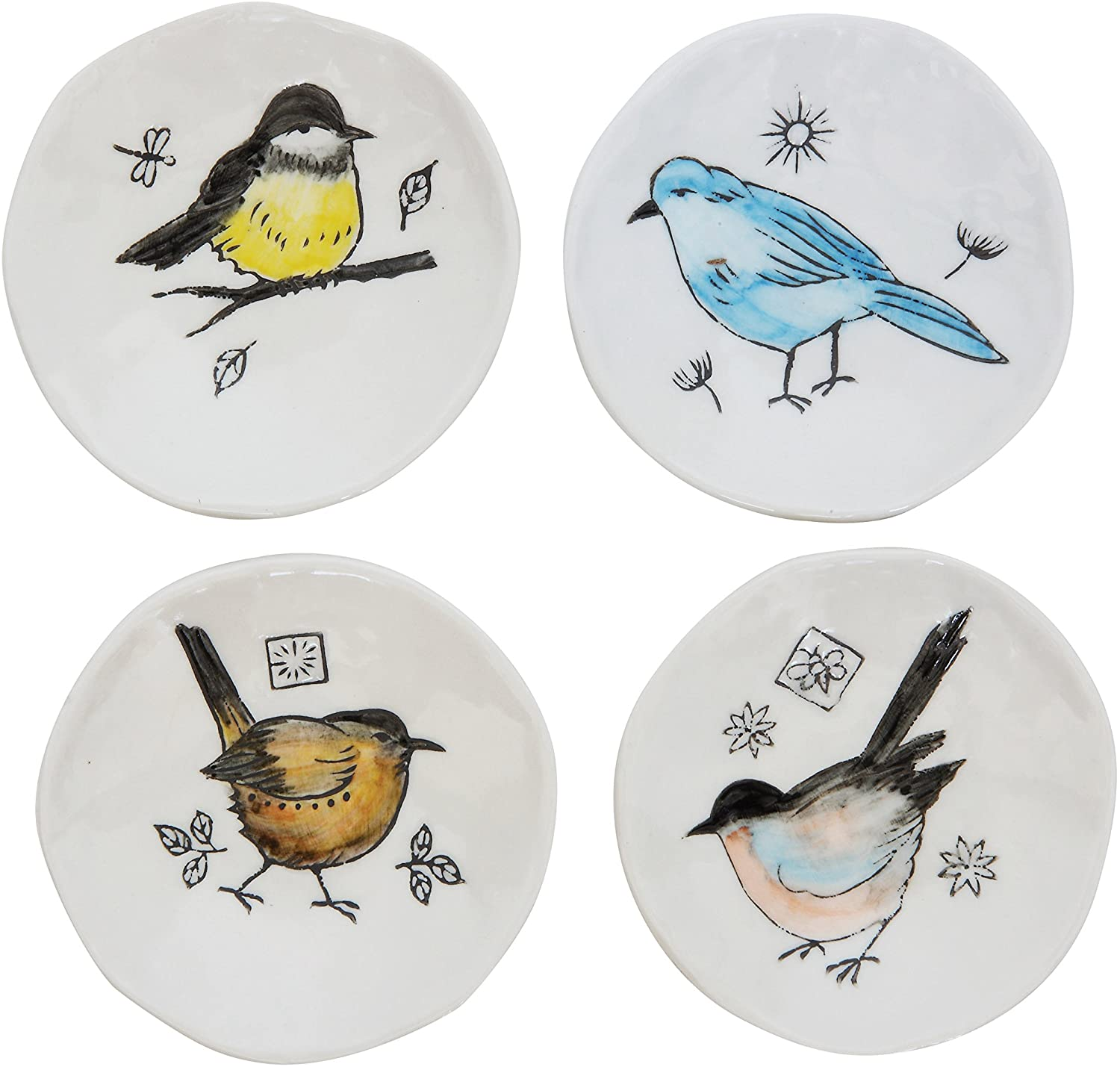 Creative Co-Op DA7553SET Set of 4 Embossed & Hand Painted Round Stoneware Dishes with Bird Images