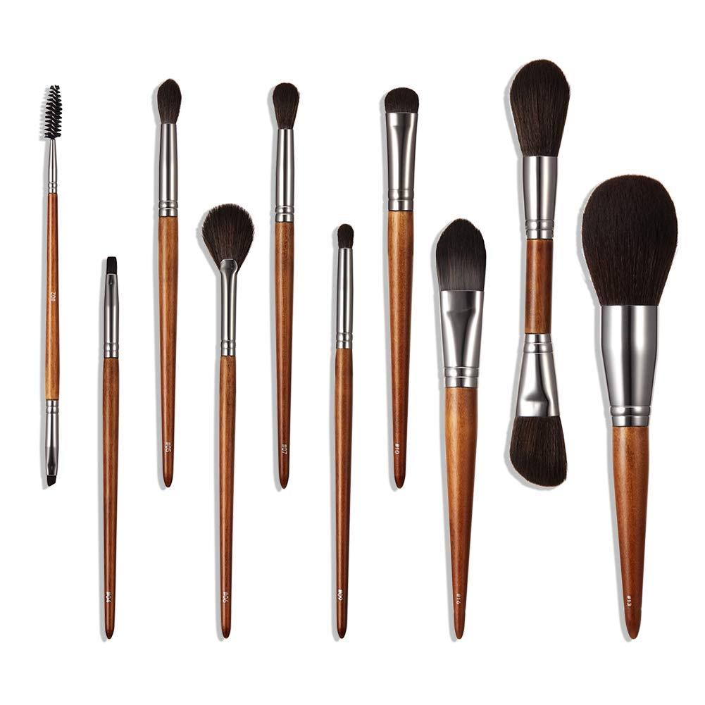 Upgraded Makeup Brushes Set Professional Quality Wood Brushes for Women Face Eyes Make Up Tools Travel