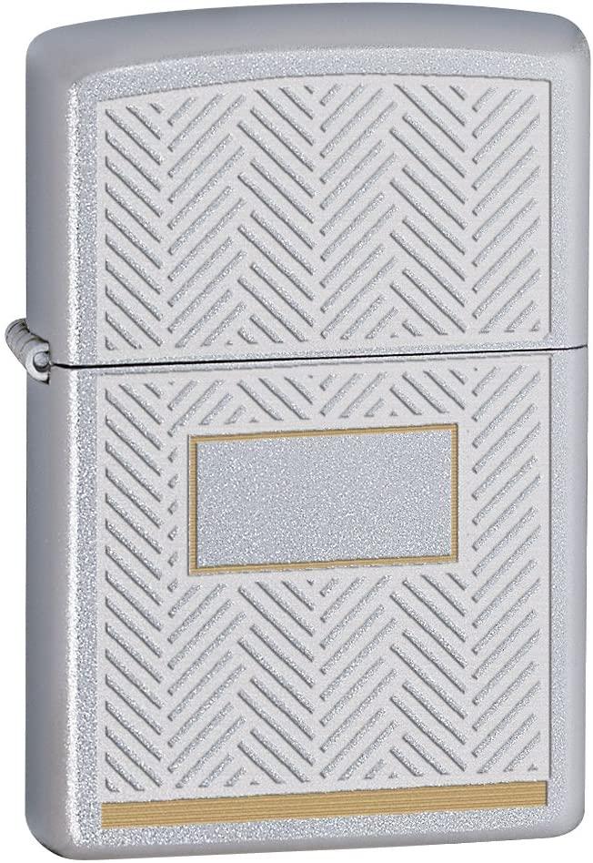 Zippo Pocket Lighter Satin Chrome w/ Herringbone Design