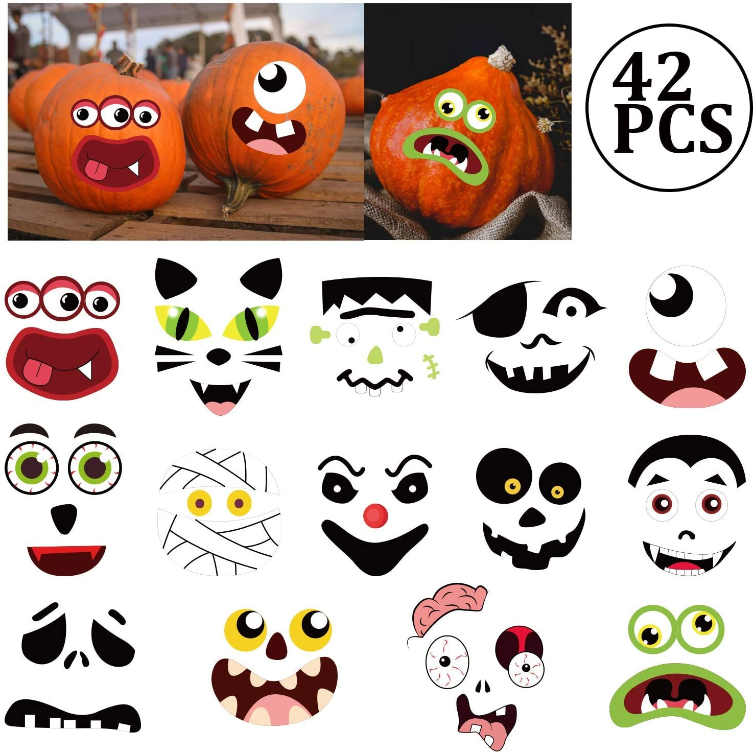 Pumpkin Decorating Craft Stickers - Kids Make Your Own Jack-O-Lantern Face Decals Halloween Party Decorations 42Ct