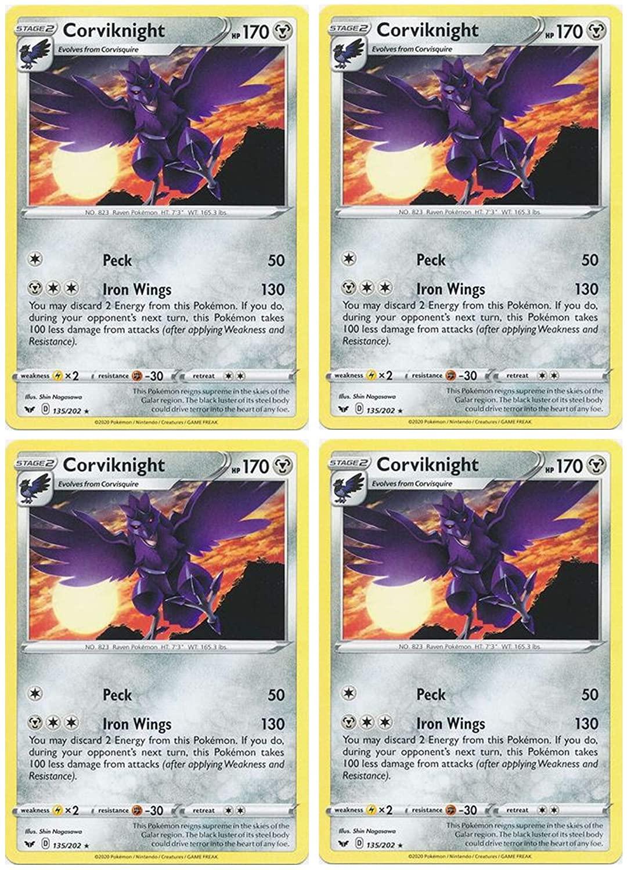 Pokemon Card - Corviknight - Sword and Shield Base - x4 Card Lot Playset - 135/202 Rare