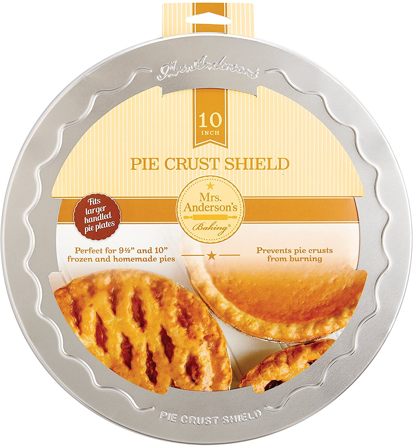 Mrs. Anderson's Baking Pie Crust Protector Shield, Fits 9.5-Inch and 10-Inch Pie Plates