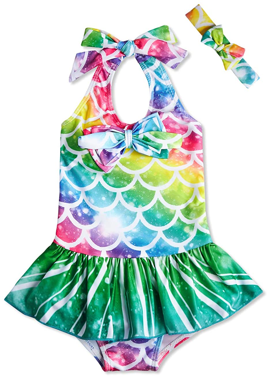 RAISEVERN 1-5 Years Girls One Piece Swimsuit Beach Bathing Suit Mermaid Swimwear with Headband