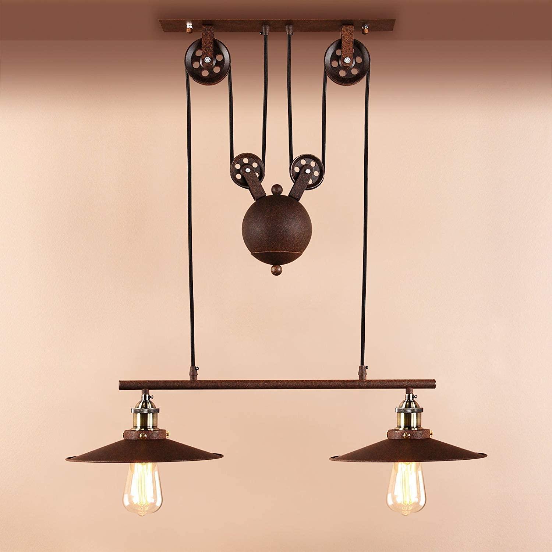 BOSSLV Industrial Retro Chandelier Loft Bar Chandelier Height Adjustable Metal Ceiling Lamp Cluster Ceiling Lamp Chandelier Restaurant Parlor Kitchen (Imitation Rust)