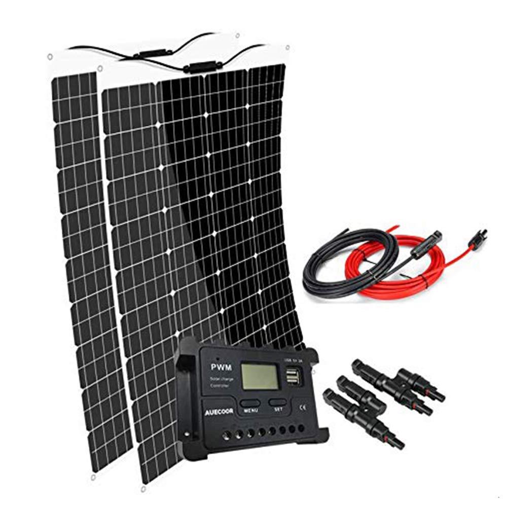 AUECOOR 240W Solar Panel: 2 x 120w Portable Flexible Monocrystalline Solar Panel for RV, Boat, Cabin,Trailer, Roofs, Off Grid System,12V /24V Battery Charging