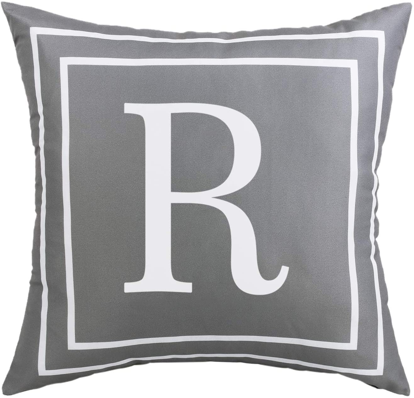 ASPMIZ Throw Pillow Covers English Alphabet R Pillow Covers, Initial Pillowcases Gray Letter Throw Pillow Covers, Decorative Cushion Cover for Bed Bedroom Couch Sofa (Gray, 18 x 18 inch)