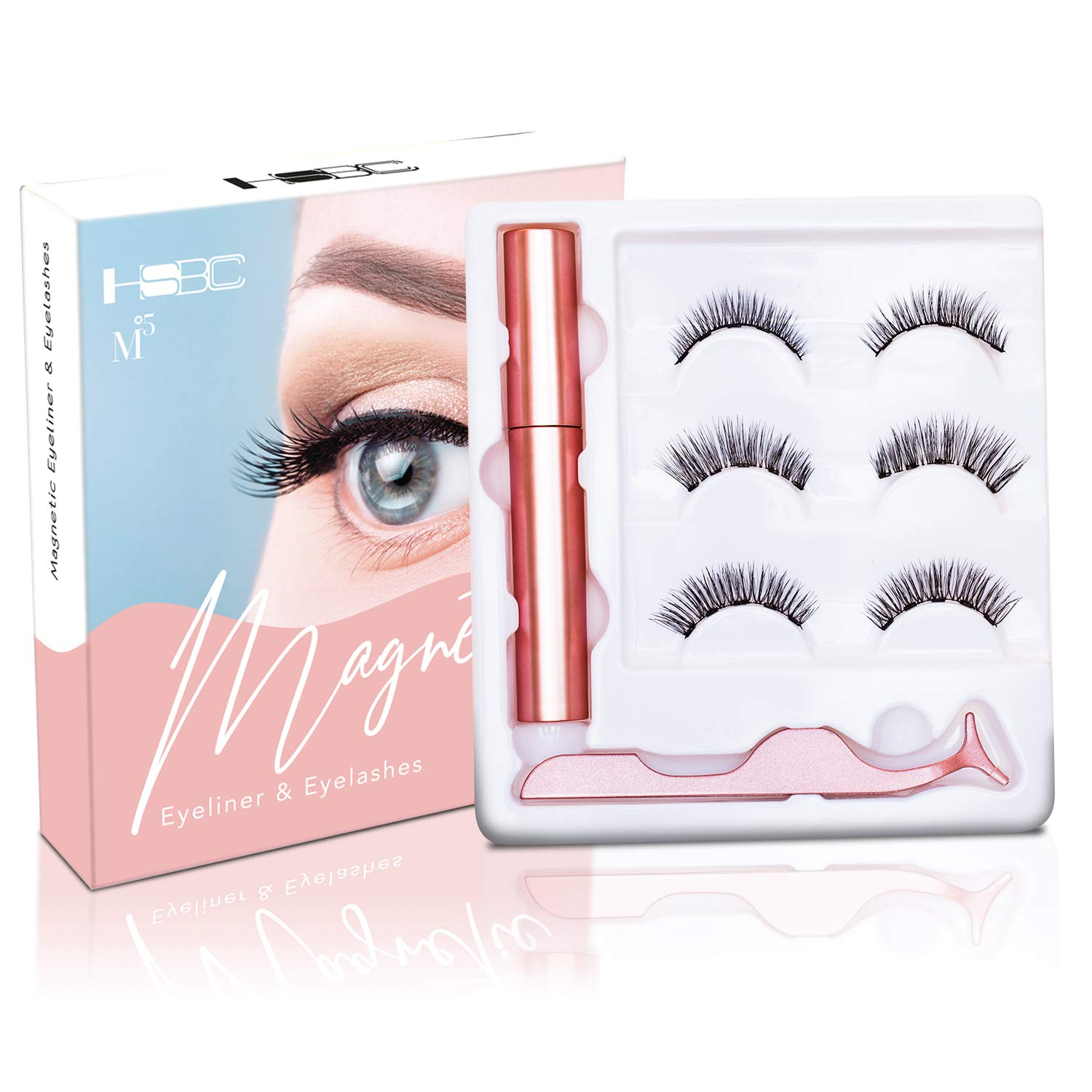 HSBCC Magnetic Eyeliner With Magnetic Eyelashes, Magnetic Eyelashes Kit False Lashes 3 Style with Tweezers (H1)