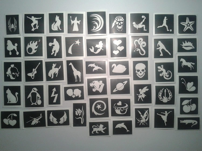 50 Tattoo Stencils for Glitter Tattoos / Body Art - Seconds / Off cuts