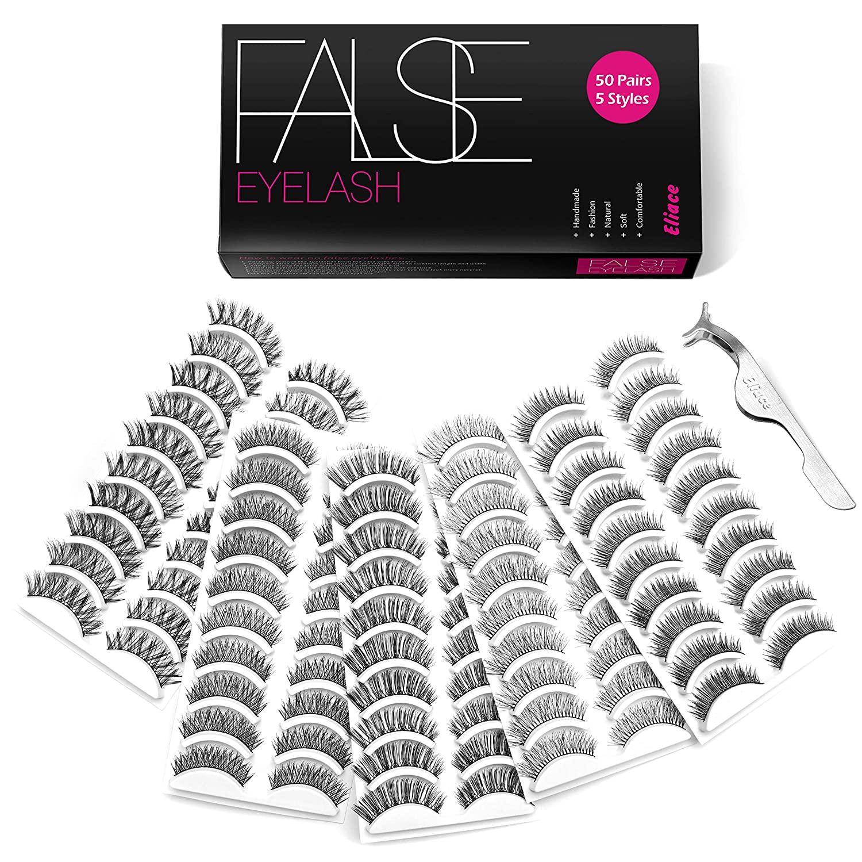 Eliace 50 Pairs 5 Styles Lashes Handmade False Eyelashes Set Professional Fake Eyelashes Pack,10 Pairs Each Style, Eyelashes Natural Look Very Soft and Comfortable,With Free Eyelash Tweezers