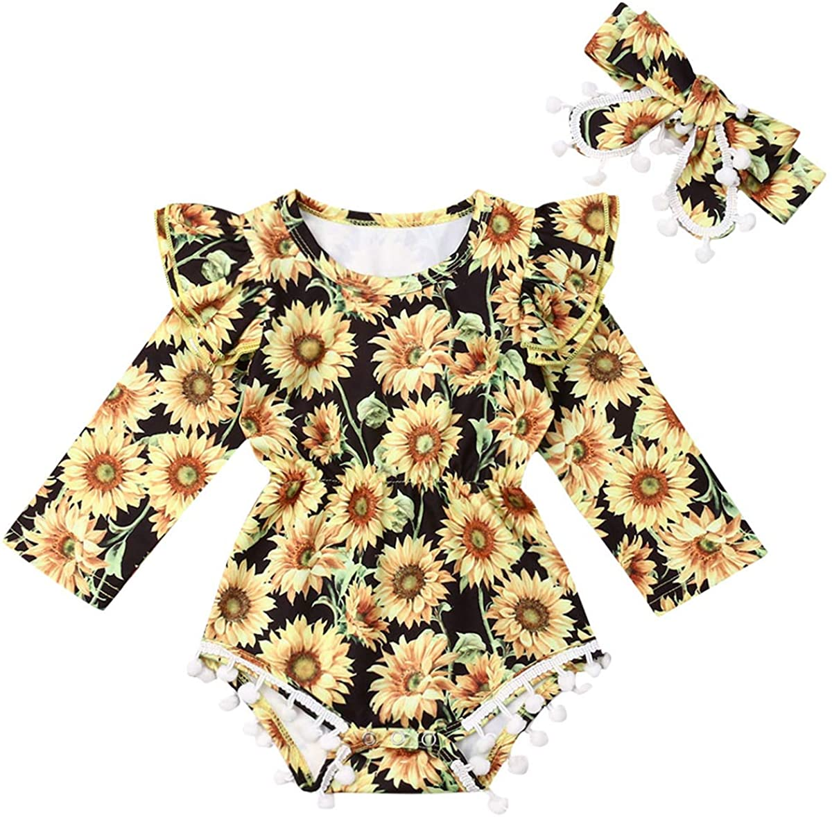 Kayotuas Newborn Baby Girls Sunflower Outfits Ruffle Sleeve Romper Bodysuit Infant Pompom One Piece Jumpsuit with Headband