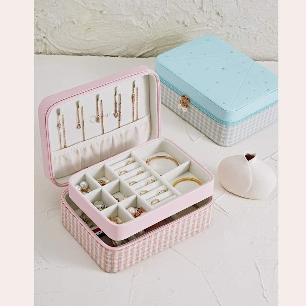 JN Jewelry Box Jewelry armoire 2-Layer Leather Jewelry Box Storage Box Storage Box with Zippered Ladies Gift (Blue, Pink) Big Jewelry Box Women's Jewelry Storage Box (Color : Blue)