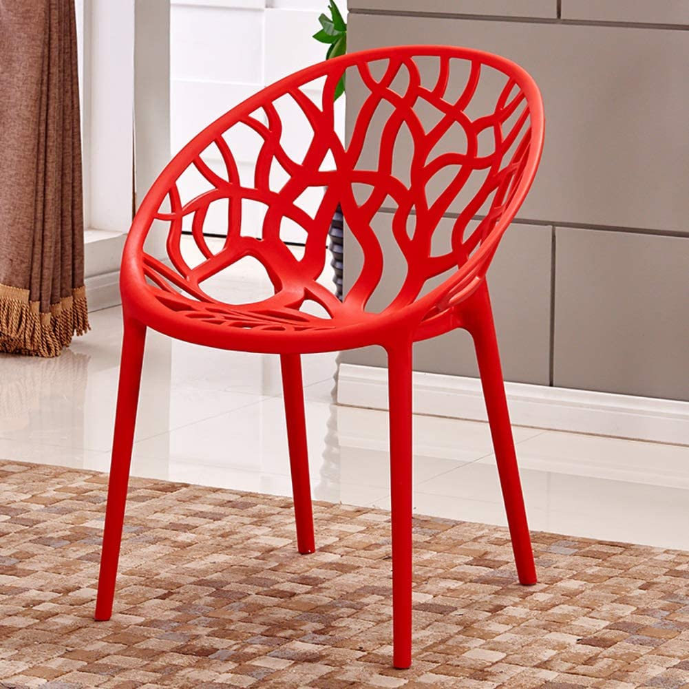 HOMRanger Set of 4 Simple Leisure Dining Chair,Plastic Hollow-Out Geometric Side Chair Durable Bearing Strong Decoration Cafe Dining Stool-red 50x48x80cm(20x19x31inch)