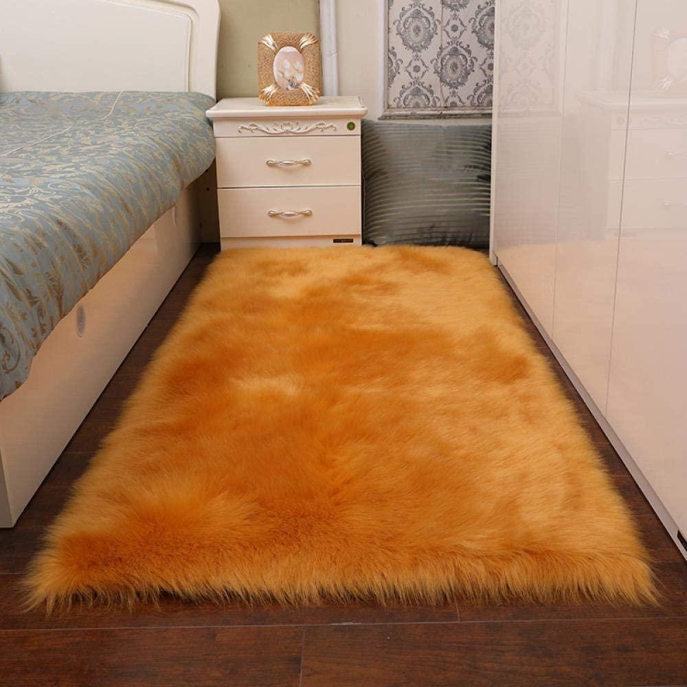 Casual home sports fashion Long Plush Living Room Carpet Mattress Wool Household Carpet Mattress Bedside Carpet Floating Window Mattress, Camel, 60120 cm