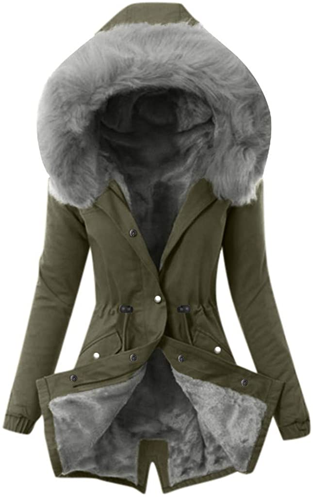 TRENDINAO Faux Fur Warm Coat Womens Winter Thick Lining Long Jacket Hooded Overcoat Fashion Trench Coats