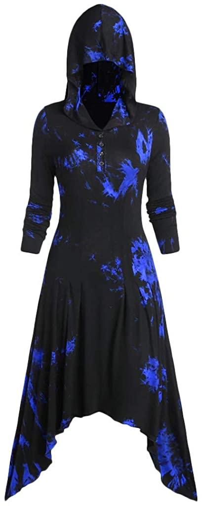KINGOLDON Women Halloween Tie-Dye Print Hooded Dress Button Asymmetric Gothic Maxi Dress