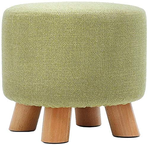 KFDQ Home Hallway Shoe Bench,Footstool Ottoman Pouffe Round Chair Foot Stool Durable Footrest Change Shoe Small Bench Household Solid Wood Makeup Stool for Kids and Adults, Green for Hallway