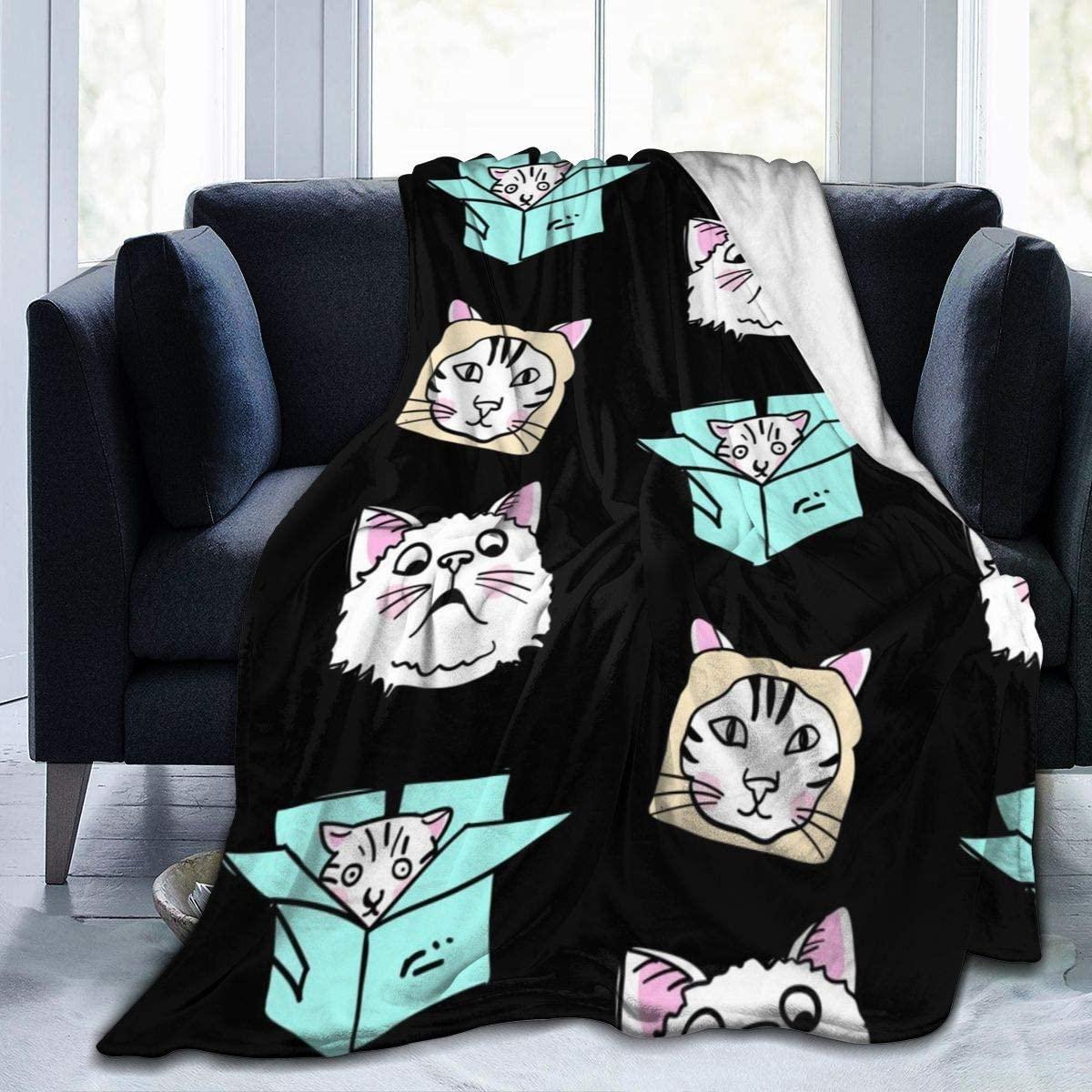 Micro Fleece Plush Soft Baby Blanket Cute Funny Cartoon Cat Magic Kitten Fluffy Warm Toddler Bed/Crib Blanket Lightweight Flannel Daycare Nap Kids Sleeping Tummy Time Throw Blanket Girls Boy Kid/Baby
