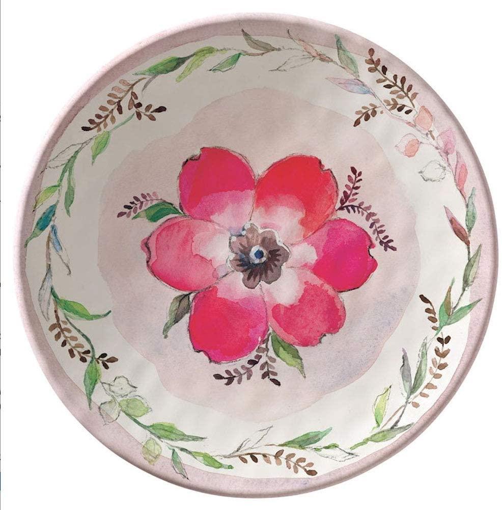 Merritt - Melamine Round Salad Plate - Bloom & Vine Red - 8.5
