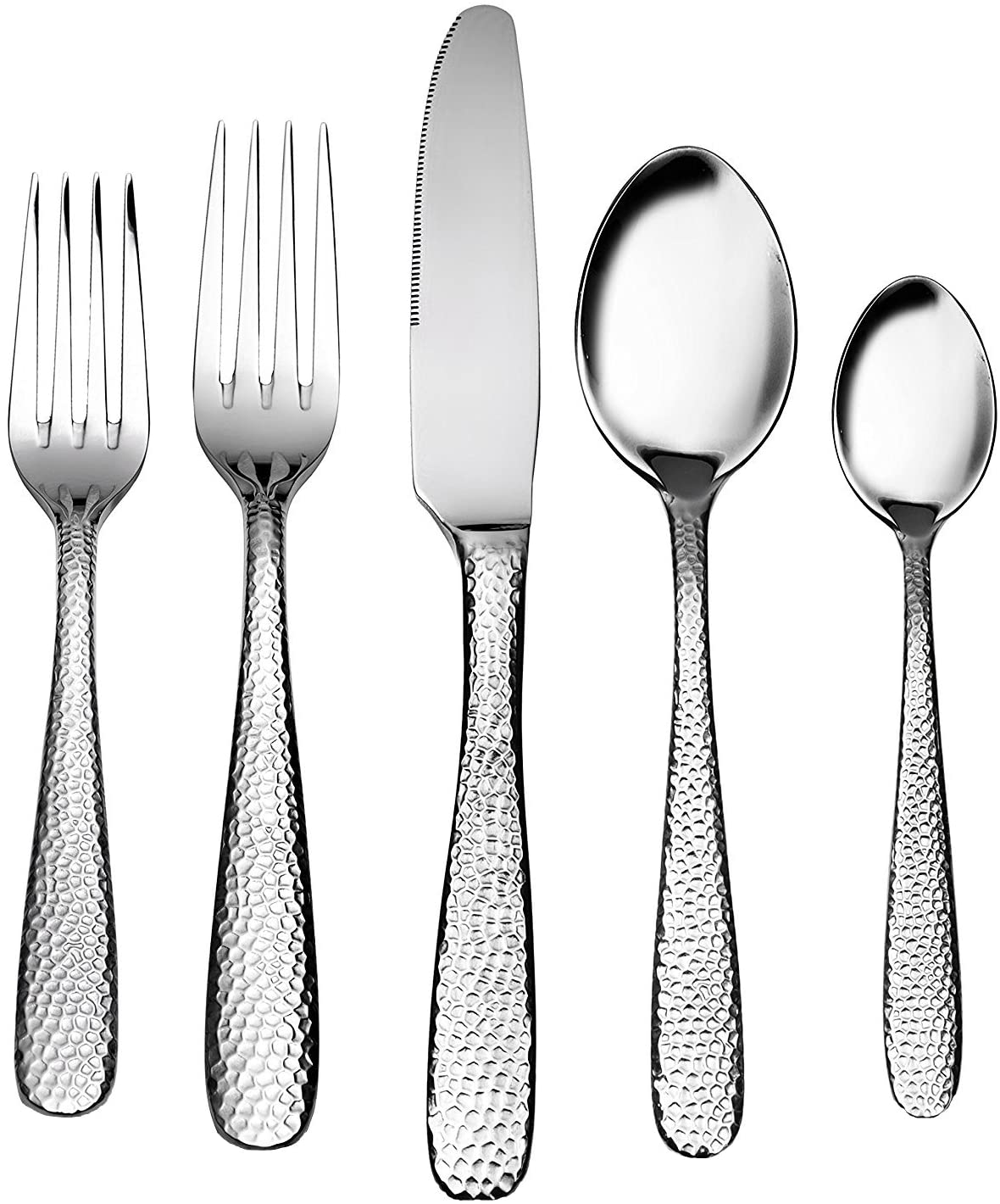 Silverware Set, 20 Pcs Flatware Set,Hammer Point Extra thick Heavy duty 18/10 Stainless Steel silverware, Service for 4