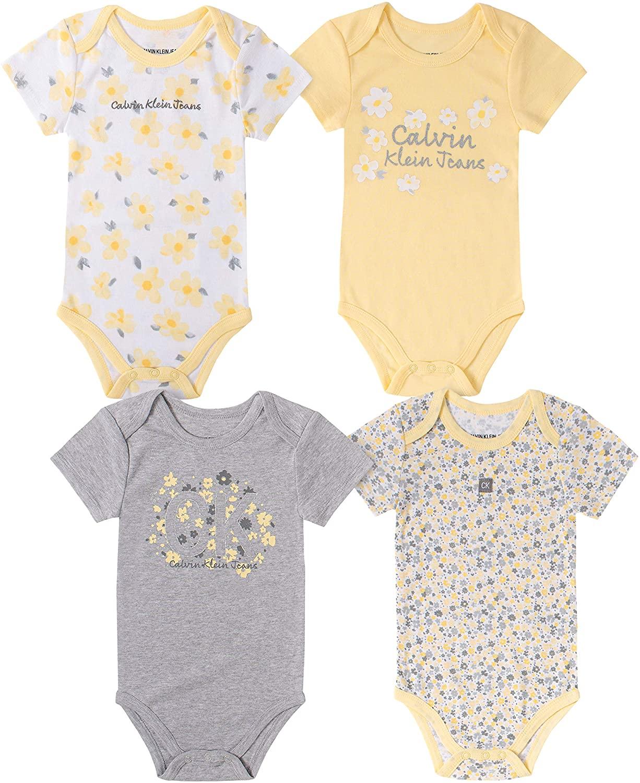 Calvin Klein Baby Girls 4 Pieces Pack Bodysuits