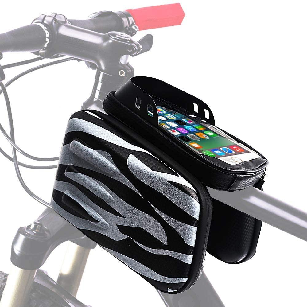 Fanghan - Bike Frame Bag Bicycle Top Tube Bag Waterproof Sensitive Touch Screen Cell Phone Mount Holder iPhone 6/6s/7/7s/8 Below 6 inch Top Tube Handlebars Storage Bag