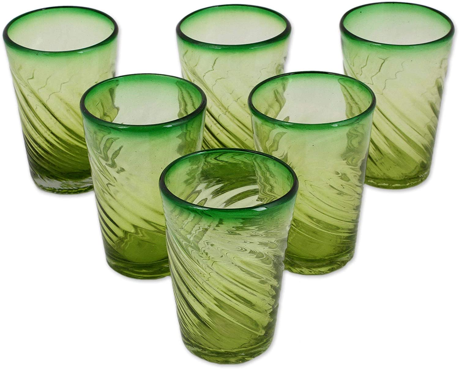 NOVICA Hand Blown Green Recycled Glass Water Glasses, 15 Oz 'Contoured' (Set Of 6)
