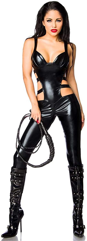 Faux Leather Catsuit PVC Suspenders Latex Bodysuit Stretch Clubwear Erotic Pole Dance Jumpsuit Playsuit