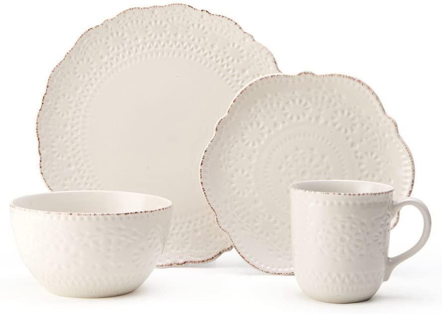 Pfaltzgraff 5199567 Chateau Cream 16-Piece Stoneware Dinnerware Set, Service for 4, Off White