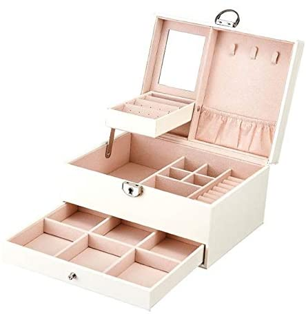SHYPT Leather Jewelry Box Multi Layer Large Capacity Multi Function Jewelry Storage Box Ear Studs Rings Jewelry Organizer