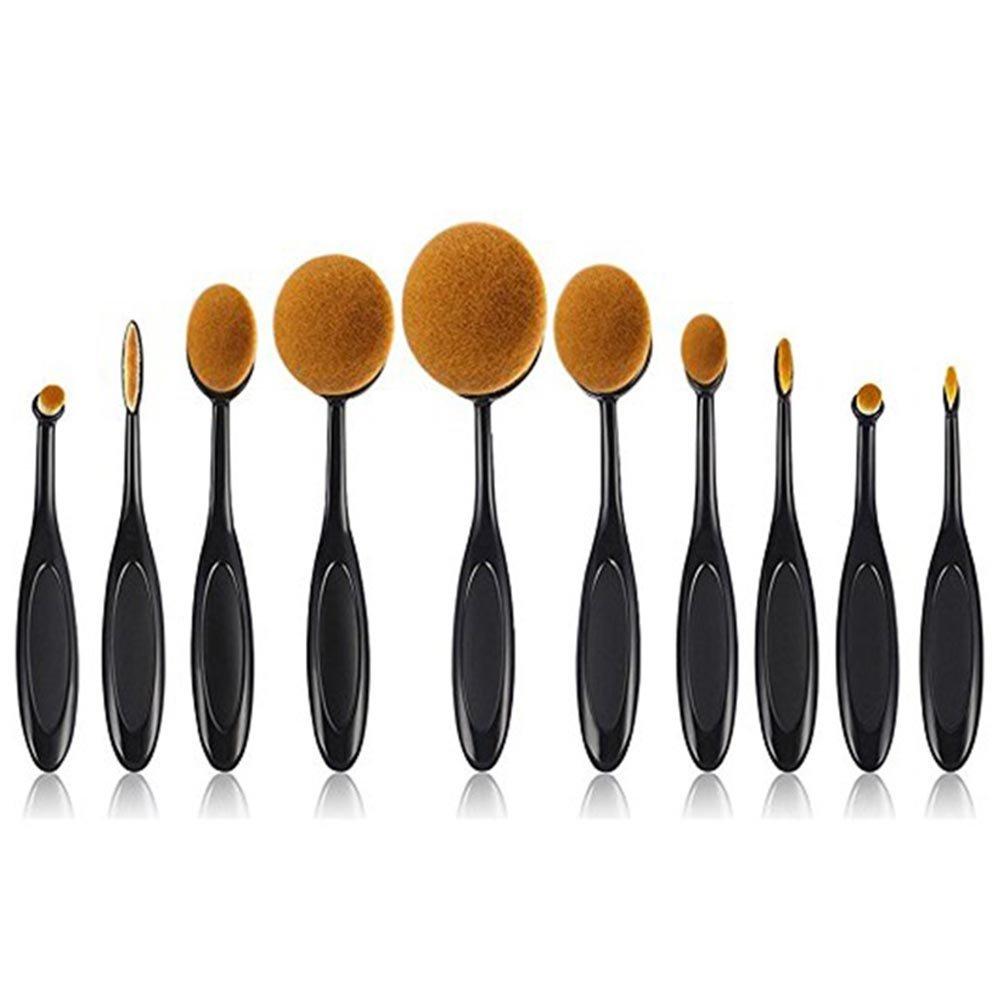 10Pcs Makeup Brush Set Professional Soft Cosmetic Brushes with Oval Toothbrush Foundataion Countour Powder Blush Conceler Eyeliner Blending Brush Tool Set for Women Girls