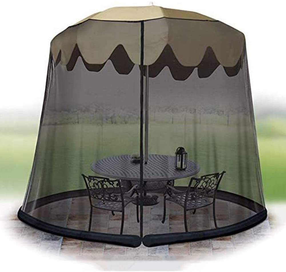IUYJVR Mosquito Netting, Garden Umbrella Sun Parasol Table Mosquito Net Cover Screen Bug Netting Cover 3M Diameter,Patio Table Umbrella Garden Deck Furniture Zippered Mesh Enclosure Cover