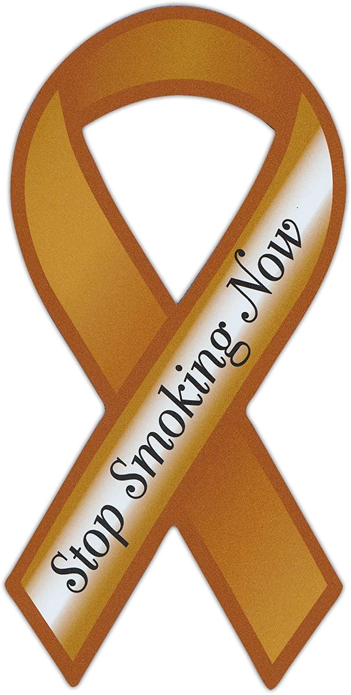Crazy Sticker Guy Ribbon Shaped Awareness Support Magnet - Stop Smoking Now! (Anti Smoking Campaign) - Cars, Trucks, SUVs, Refrigerators, Etc.