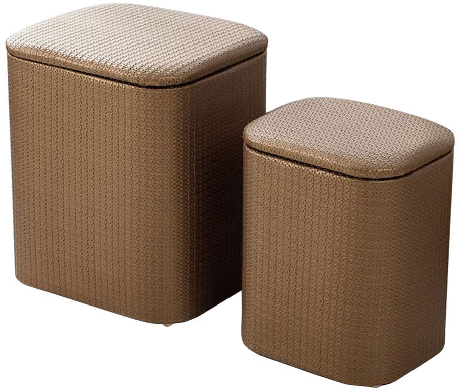 GWW Ottomans Ottoman Set of 2 Storage Chest/Change Shoes Stool/Makeup Stool,Kids Toy Box/Seat/Versatile Space Saving,Pu Leather,for Dressing Room/Bedroom/Living Room,3 Colors