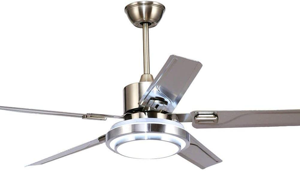3 Light Dimmable Remote Control Ceiling Fan 5 Blade Reverse Rotation Stainless Steel LED Fan Ceiling Light Indoor Silent Fan Chandelier (48inch)