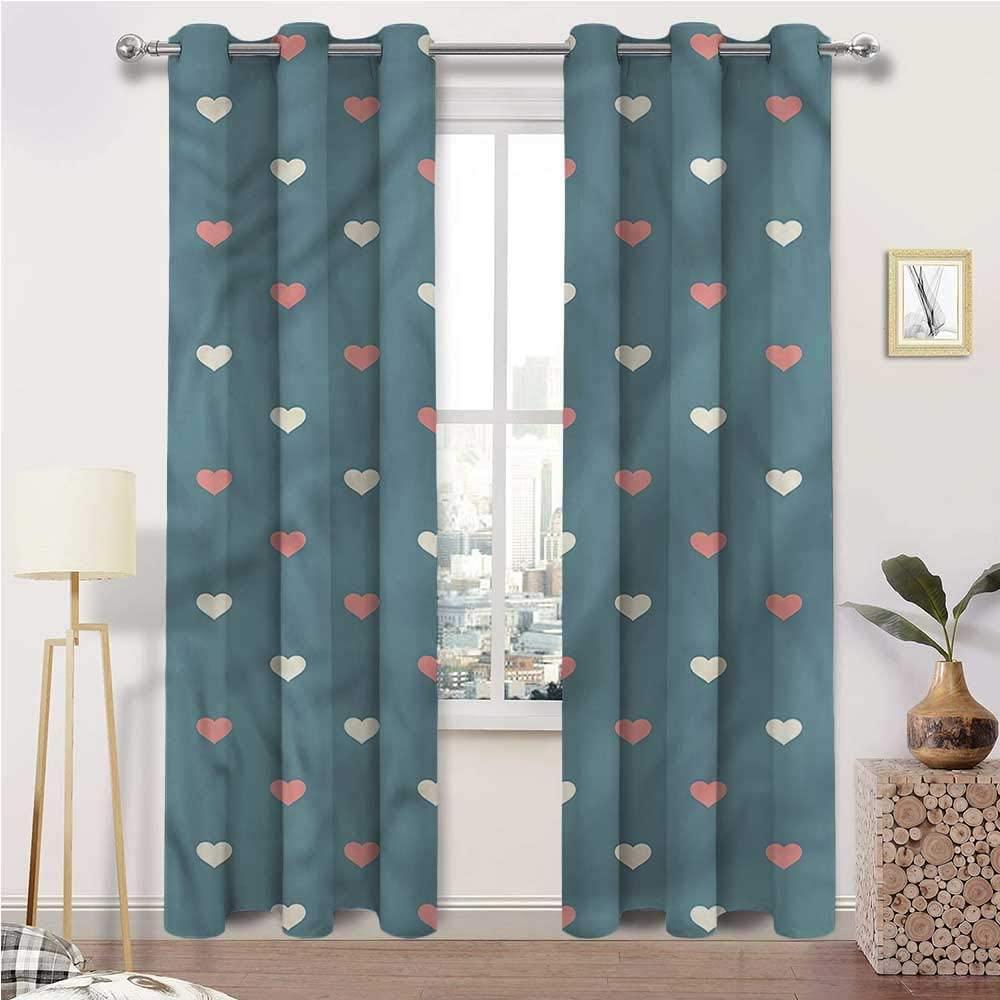 Interestlee Cafe Curtains, Geometric Grommet Drapes for Patio Pergola Porch Deck, Diagonal Love Hearts Set of 2 Panels, 108 Width x 84 Length