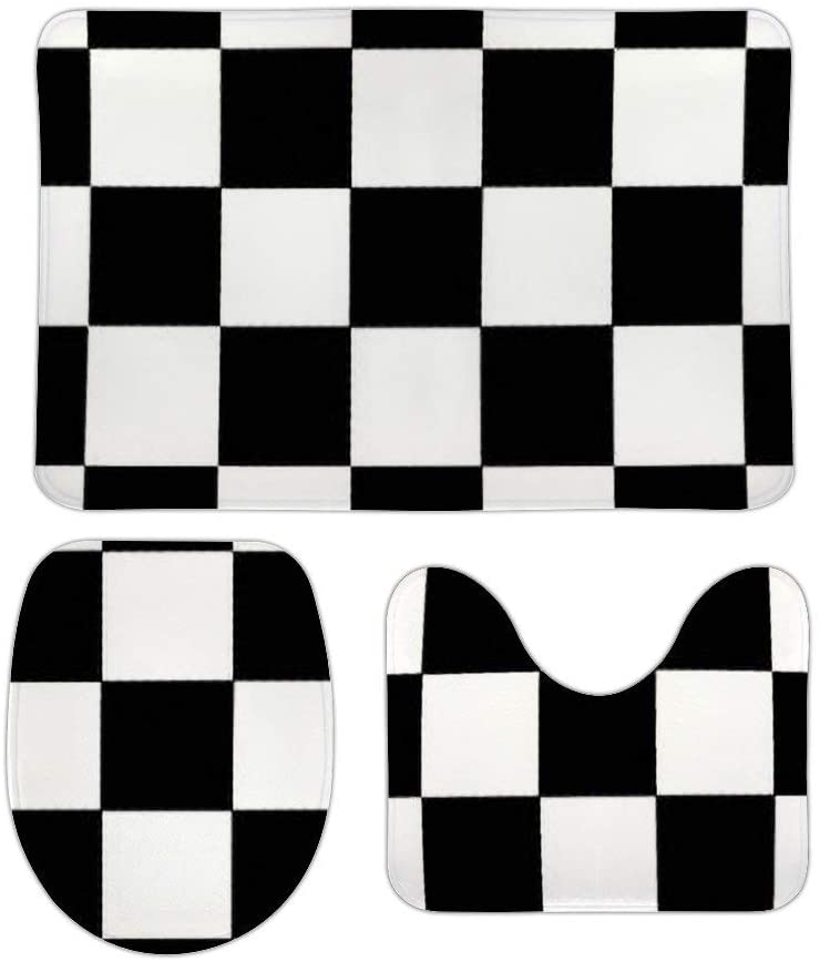 Yilooom 3 Pack Bath Mat Set, Black and White Checkered Checkerboard Pattern Absorbent Memory Foam Soft Shower Bath Rugs Contour Mat and Lid Cover,Non Slip Velvet Bathrug,Shower Toilet Bathmats Carpet