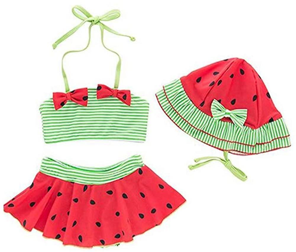 Sunlunckystar Baby Girls Red Bikini Watermelon Swimsuit with Hat