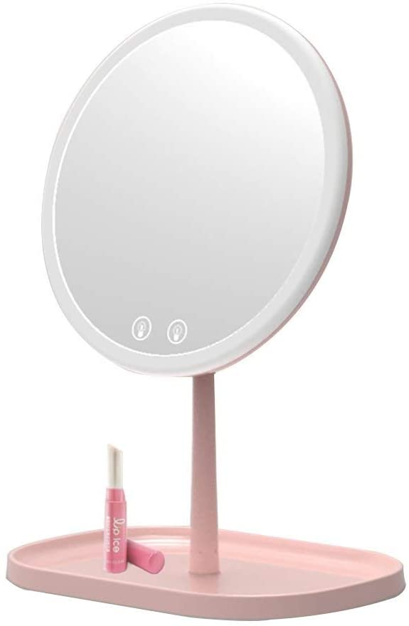 Guo shop Foldable Portable Cosmetic Mirror USB Chargeable, Cosmetic Mirror with Touch Screen Dimming, Vanity Mirror Adjustable Angle Countertop, Makeup Mirror with Tray Storage
