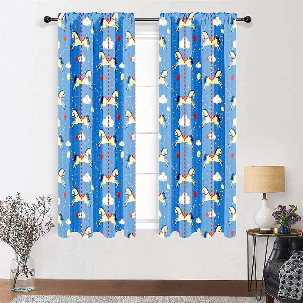 carmaxs Patio Curtains Toy Horse for Living/Bedroom Room Patio Door Carousel Pattern Carnival Fun Fair Amusement Park Theme Background Merry Go Round 2 Panels 84